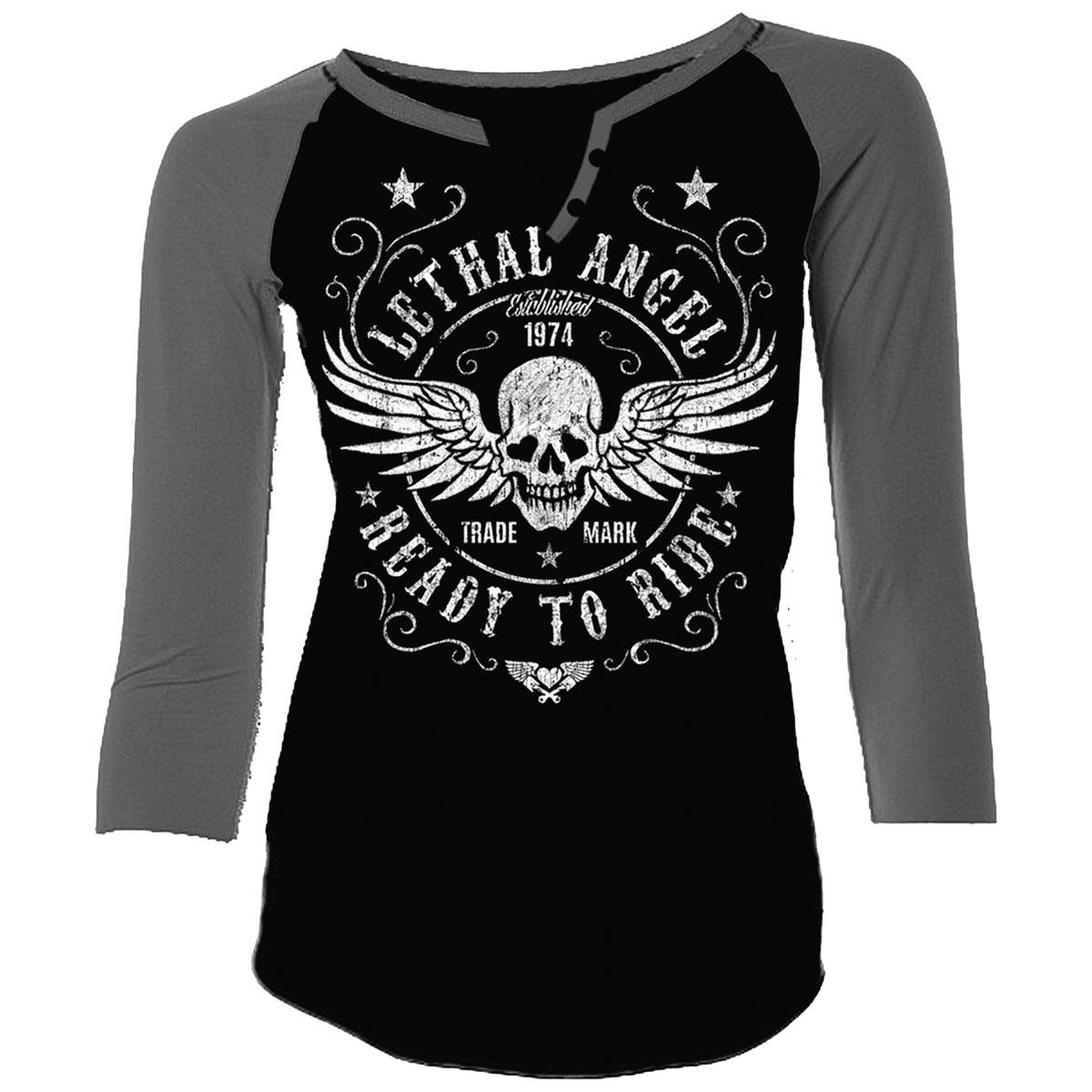 Lethal Angel Women's Ready to Ride Curvy Black/Gray Baseball Tee