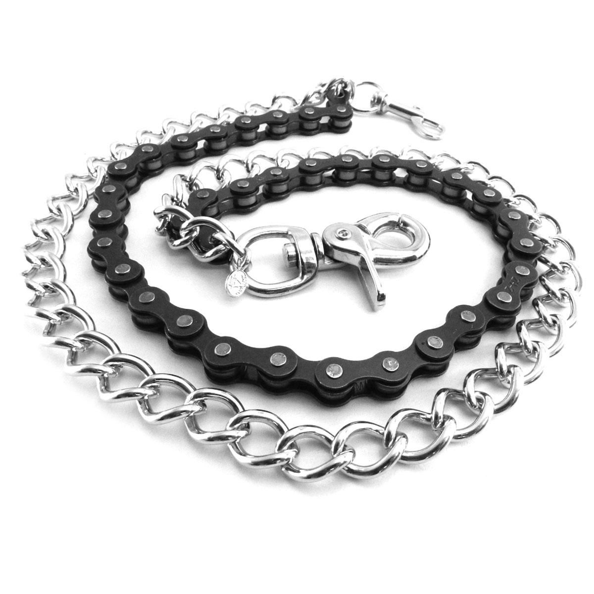 AMiGAZ Black Bike Chain 18″ & Shackle 23″ Double Wallet Chain