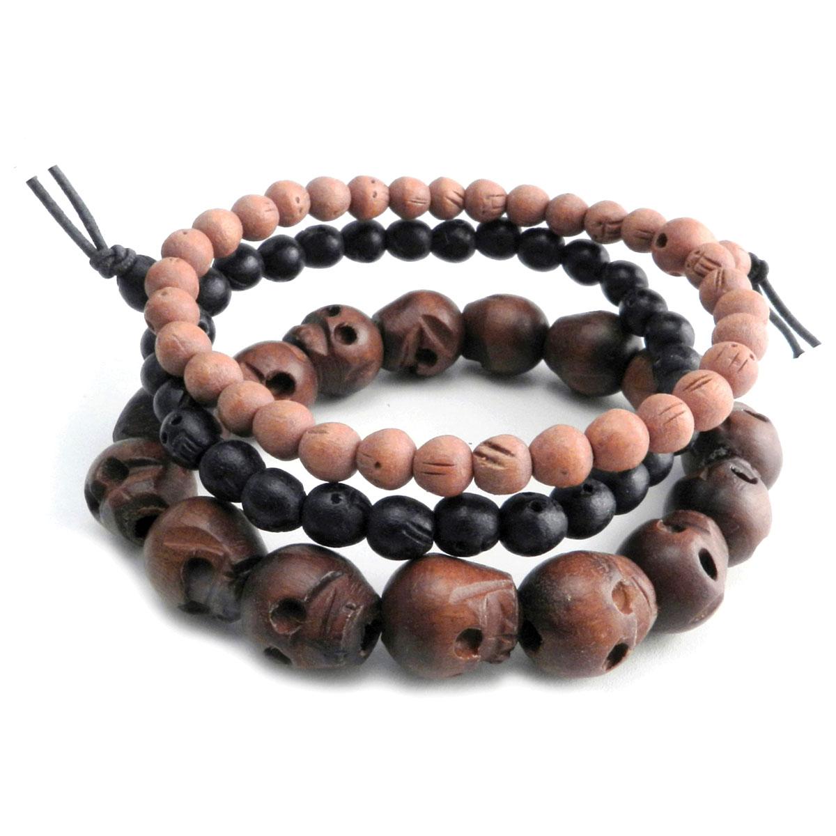Amigaz Wood Skull Bead Bracelets P405