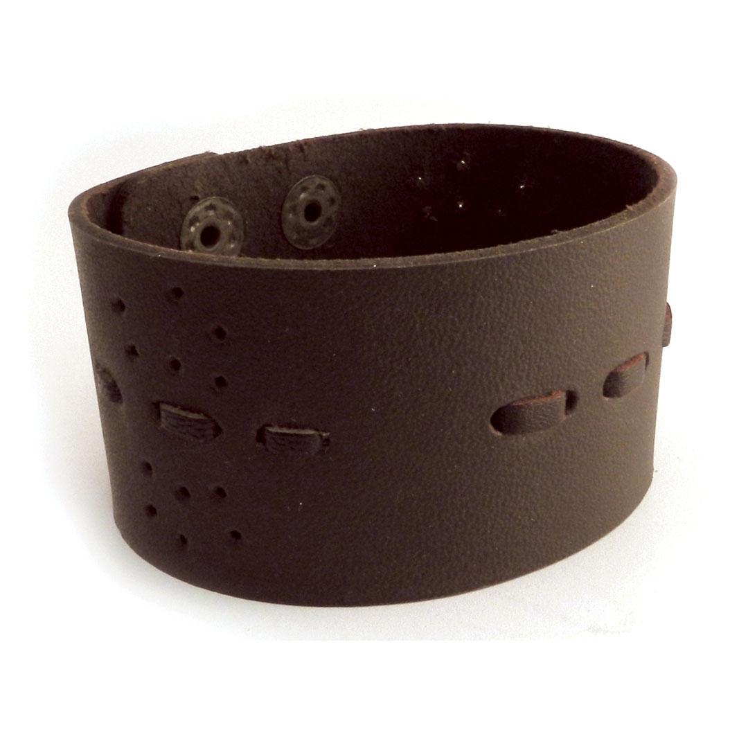 AMiGAZ Wide Threaded Leather Cuff Brown Bracelet