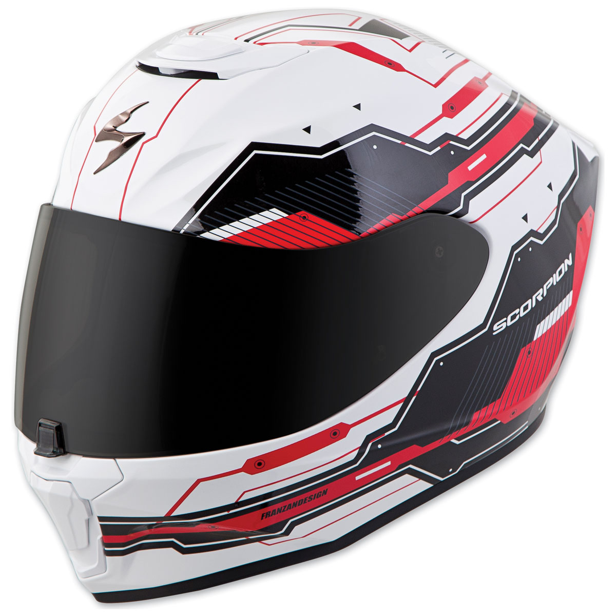 Scorpion EXO EXO-R420 Techno White/Red Full Face Helmet