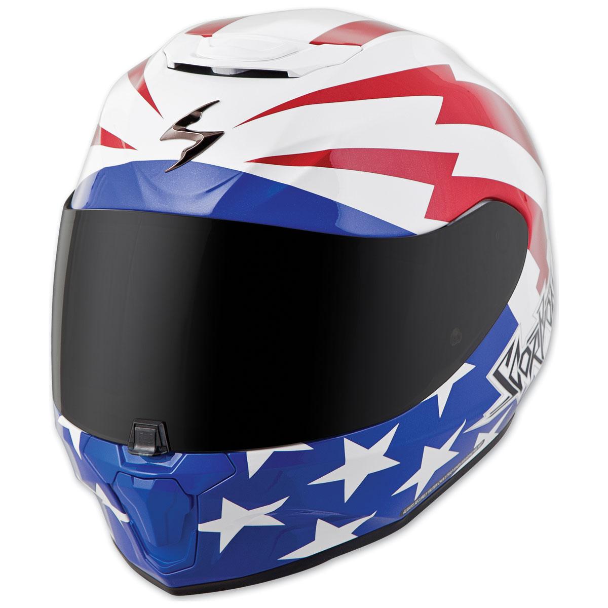 Scorpion EXO EXO-R420 Tracker White/Red/Blue Full Face Helmet