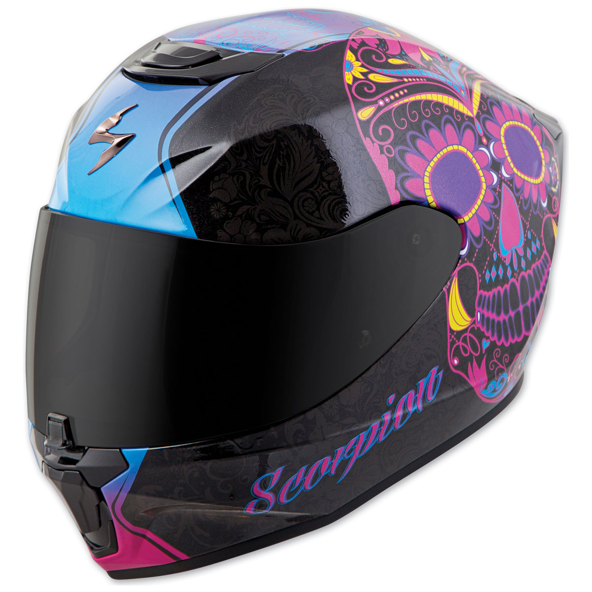 factory outlets wholesale outlet best price Scorpion EXO EXO-R420 Sugarskull Black/Pink Full Face Helmet - 42 ...