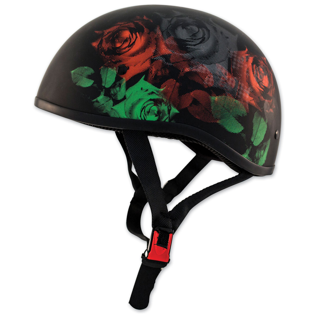 Zox Retro Old School Roses Matte Black Half Helmet