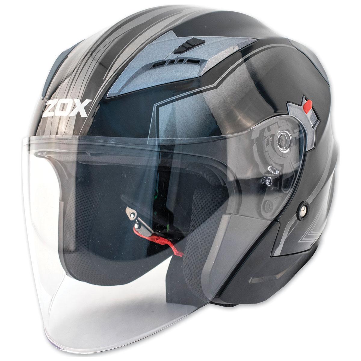 Zox Journey Trip Glossy Silver Open Face Helmet