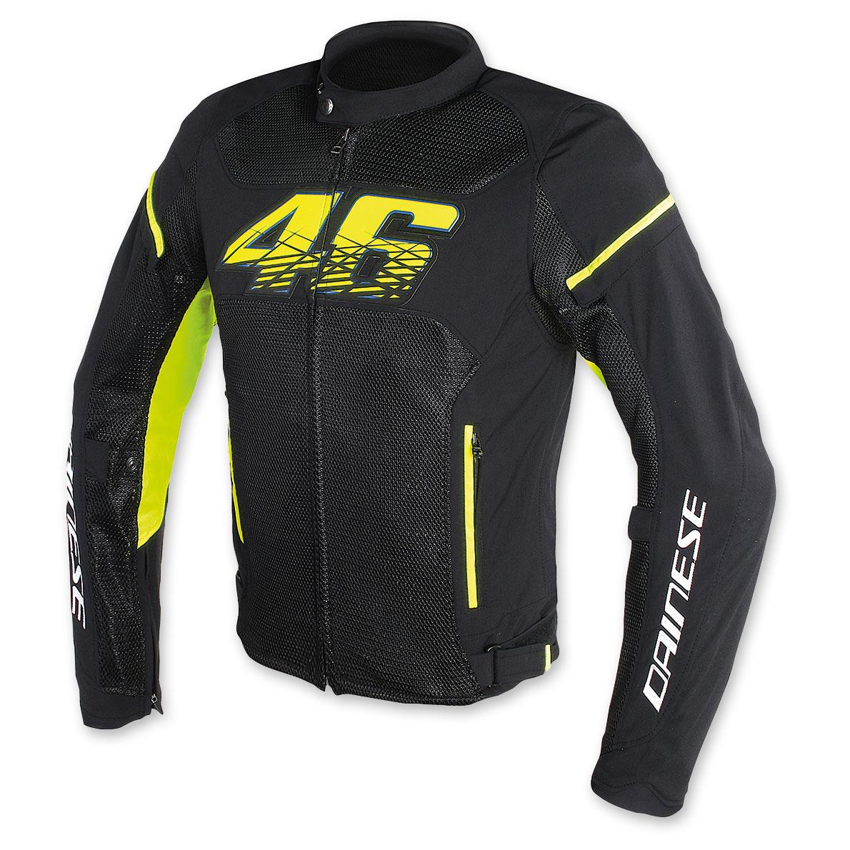 Dainese Men's VR46 D1 Air Black/Yellow Textile Jacket