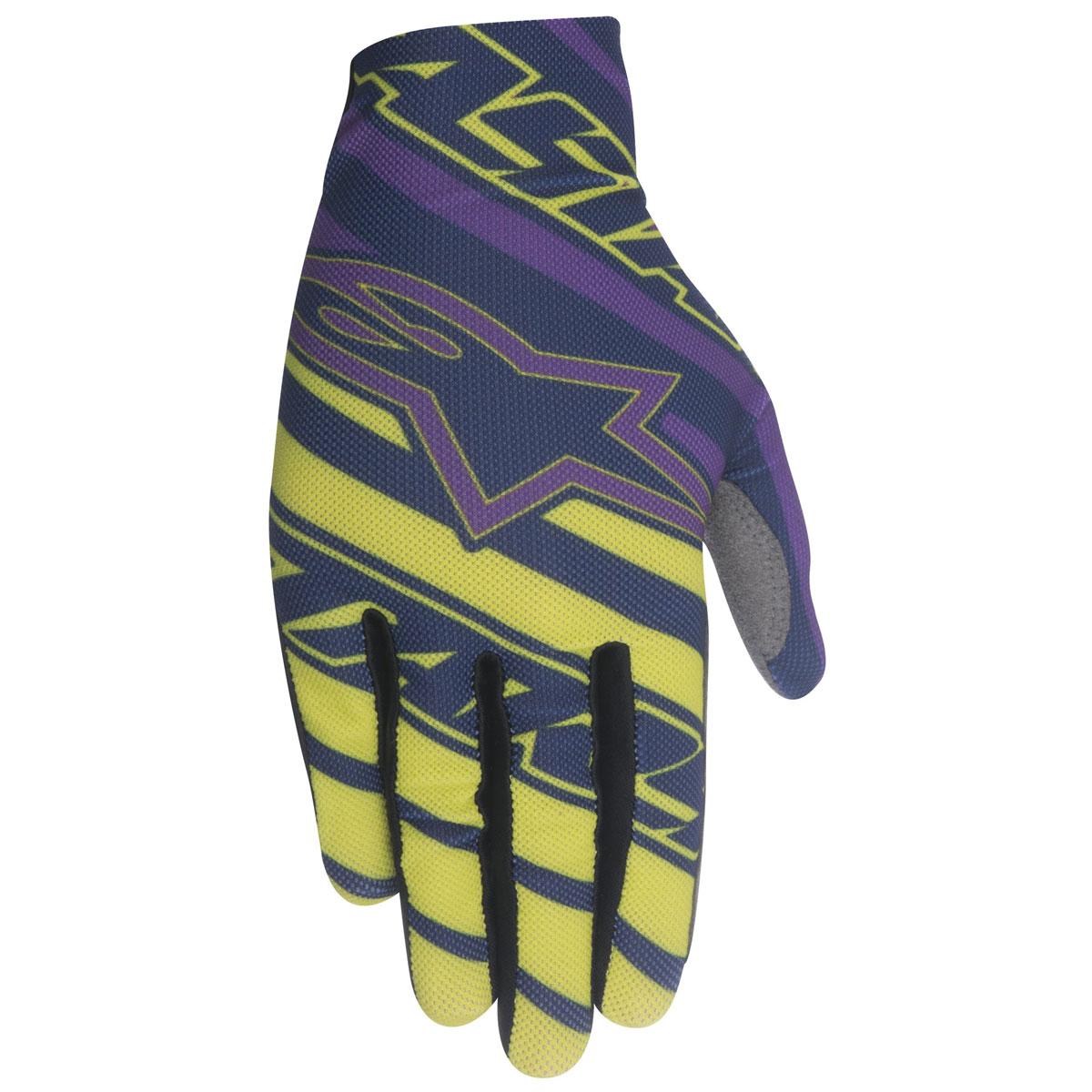 Alpinestars Men's Dune Navy/Lime Green/Purple Gloves