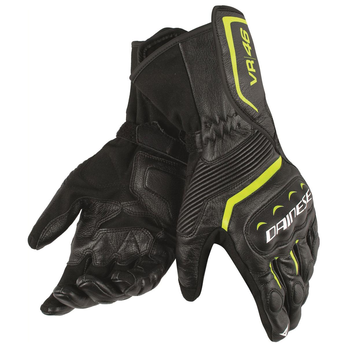 Dainese Men's VR46 Assen Black/Fluorescent Yellow Leather Gloves