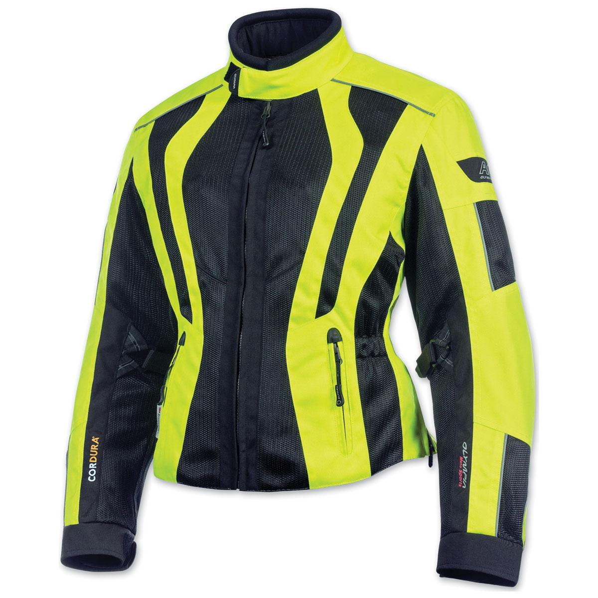 Olympia Moto Sports Women's Airglide 5 Mesh Tech Neon Yellow Jacket