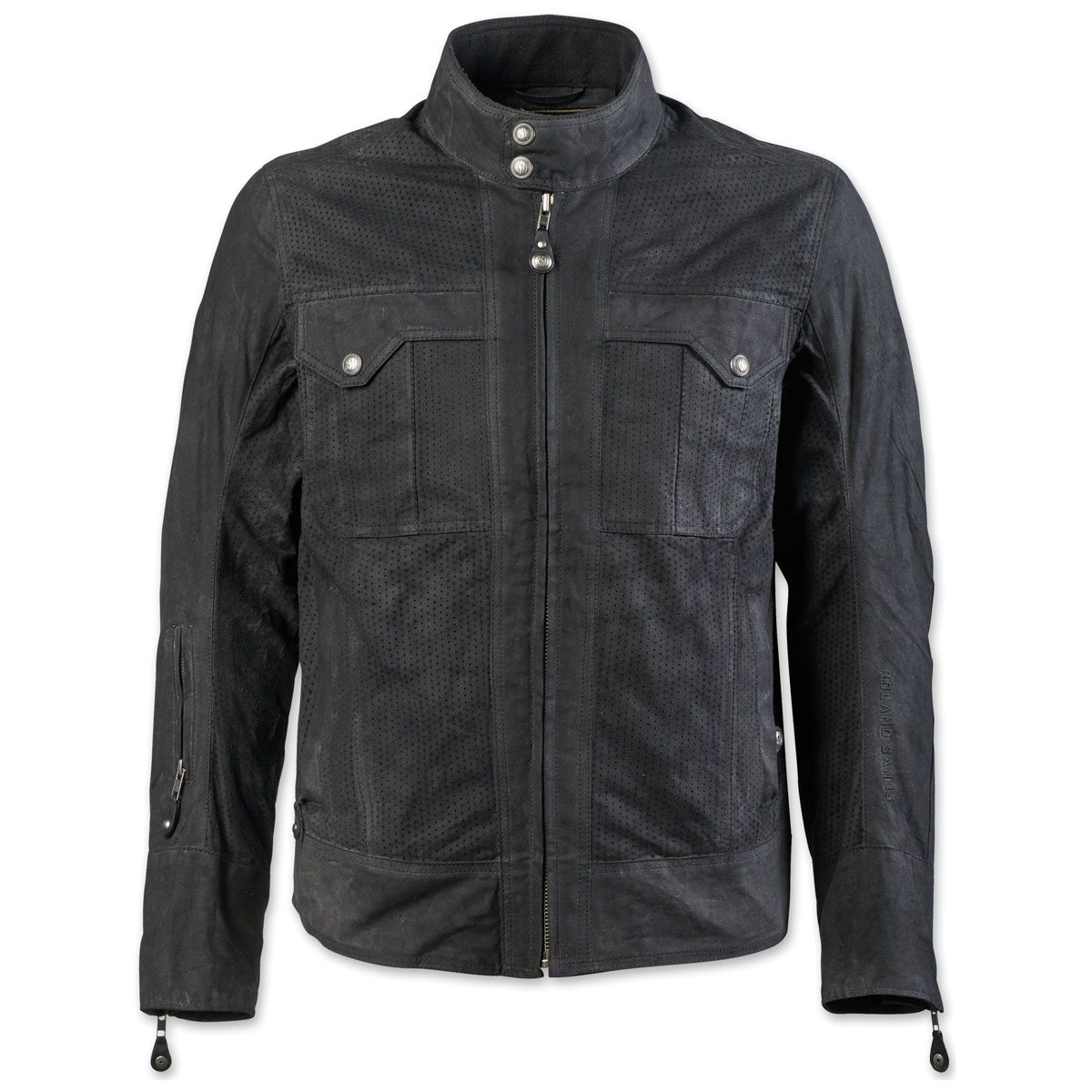Roland Sands Design Apparel Men's Duro Perf Waxed Cotton Black Jacket