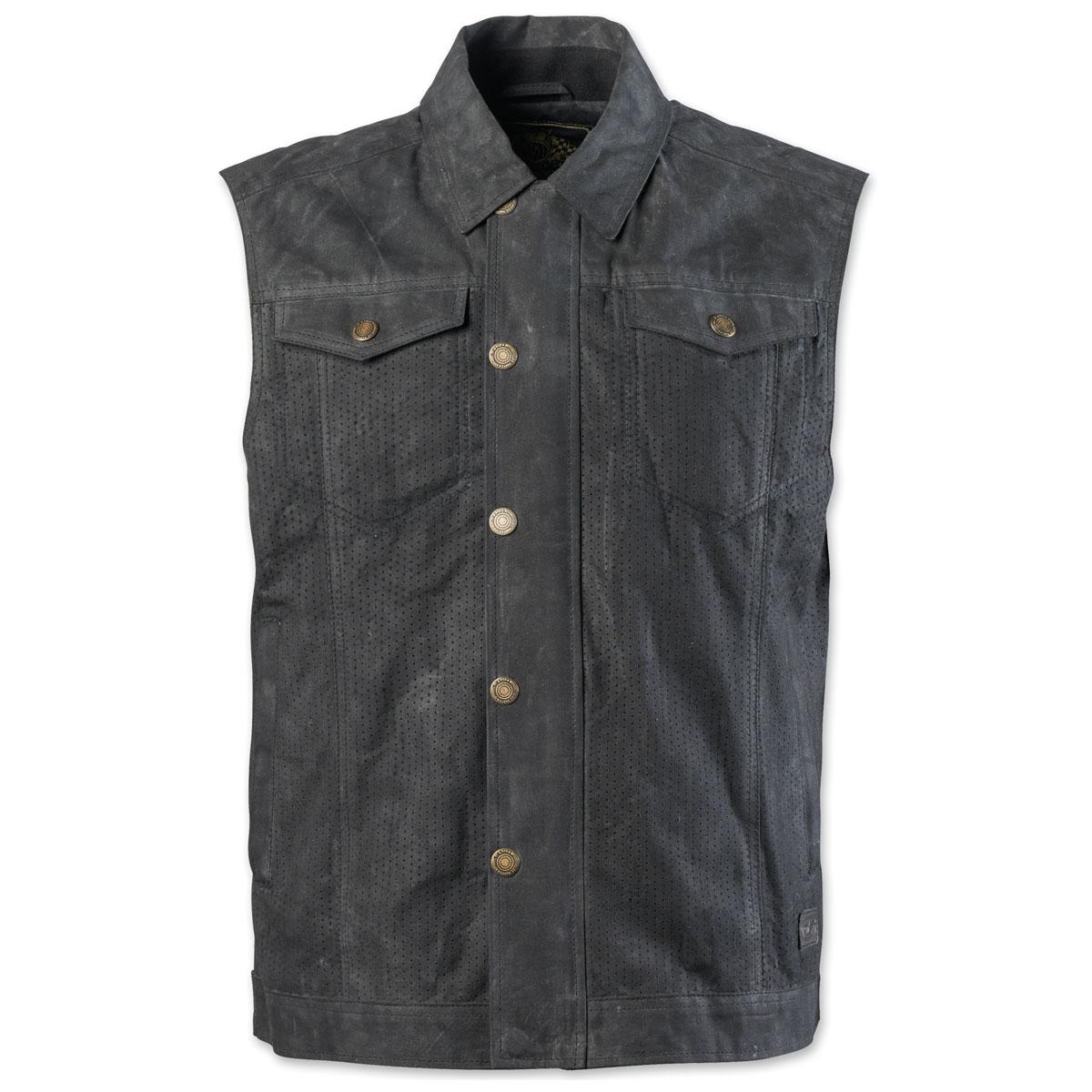 Roland Sands Design Apparel Men's Ramone Perf Waxed Cotton Black Vest