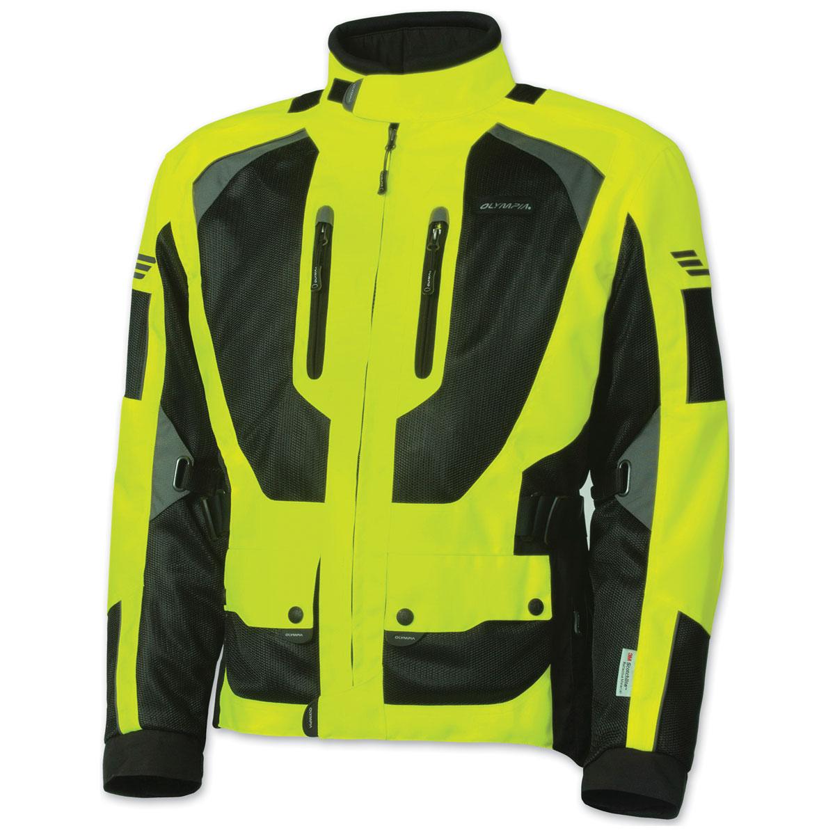 Olympia Moto Sports Men's Dakar 2 Neon Yellow Jacket