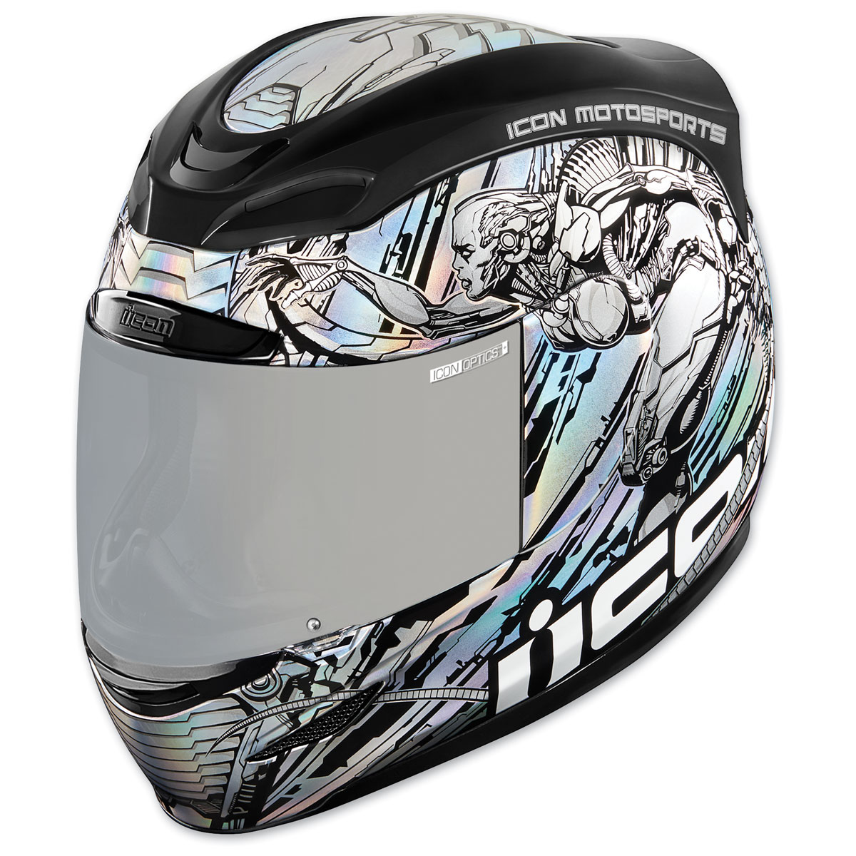 ICON Airmada Mechanica Silver Full Face Helmet