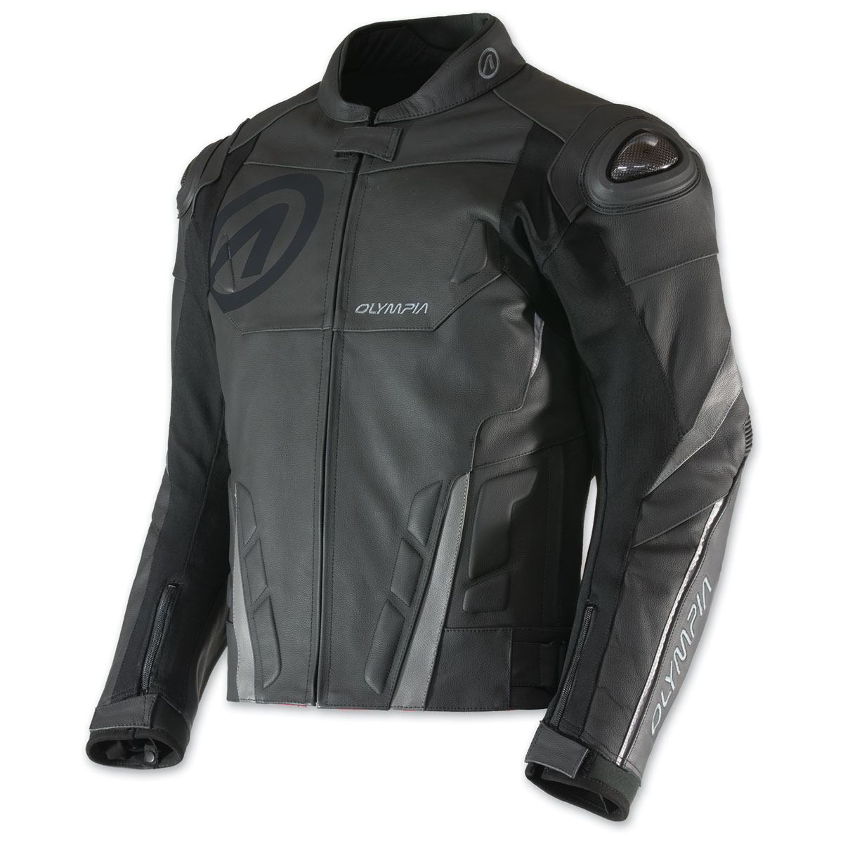 Olympia Moto Sports Men's Kanto Black/Gray Leather Jacket