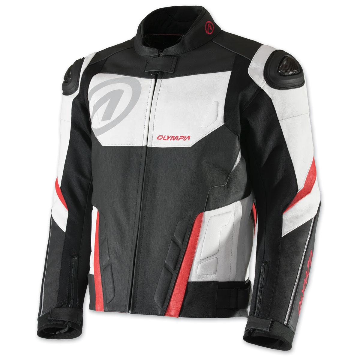 Olympia Moto Sports Men's Kanto Black/White/Red Leather Jacket