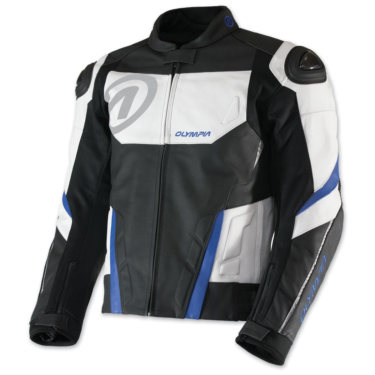 Olympia Moto Sports Men's Kanto Black/White/Blue Leather Jacket