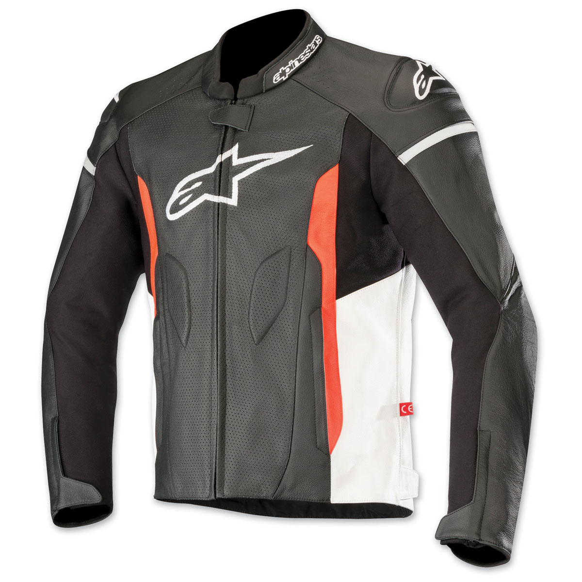 Alpinestars Men's Faster Airflow Black/White/Red Leather Jacket