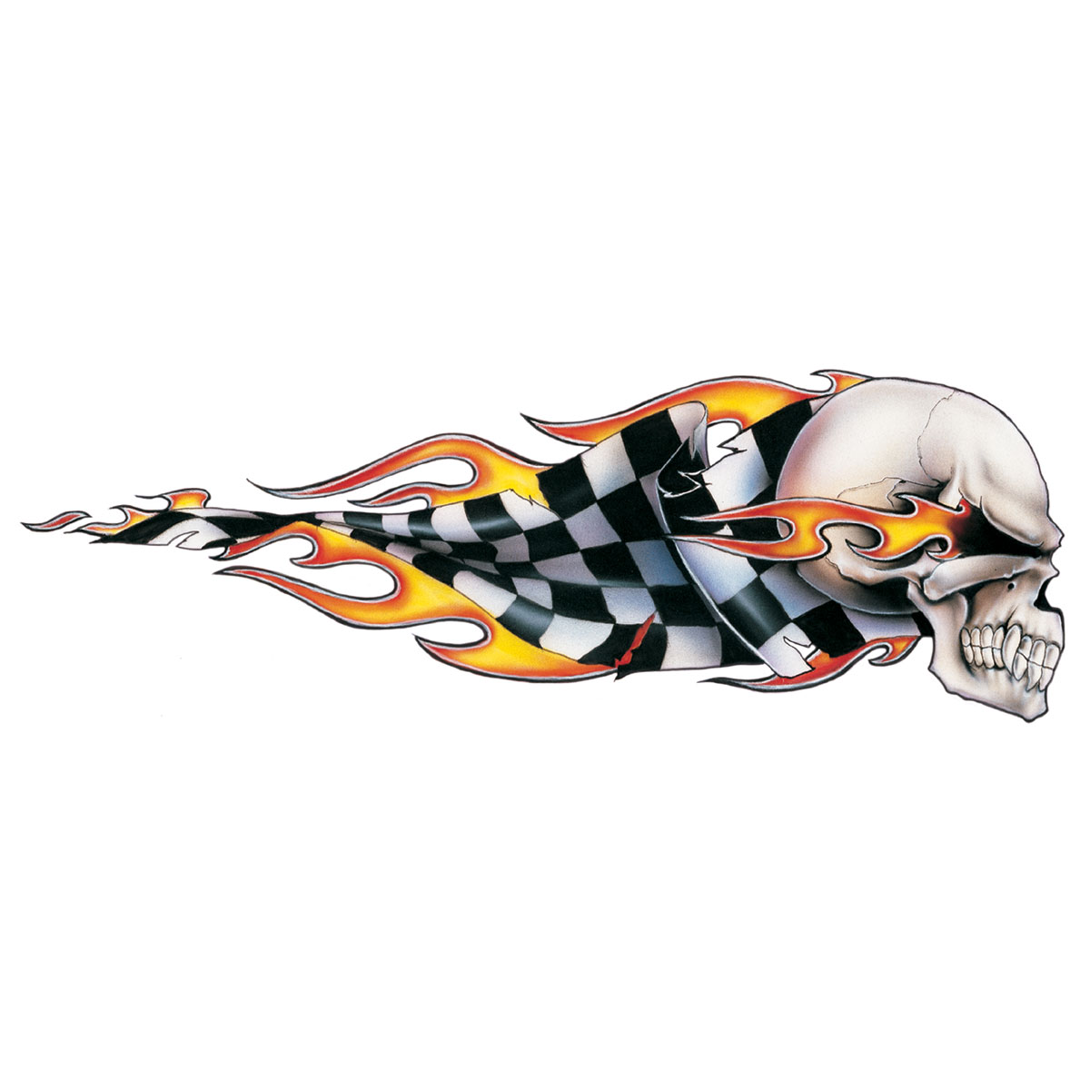Lethal Threat Checkered Skull Decal - Right