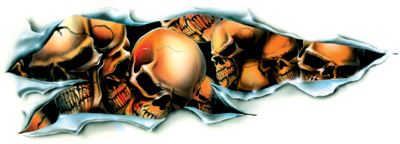 Lethal Threat Shred Skull Decal - Left