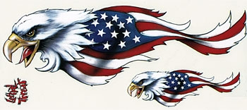 Lethal Threat USA Eagle Decal Set - Left
