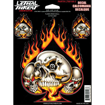 Lethal Threat Flame Spade Skull Decal