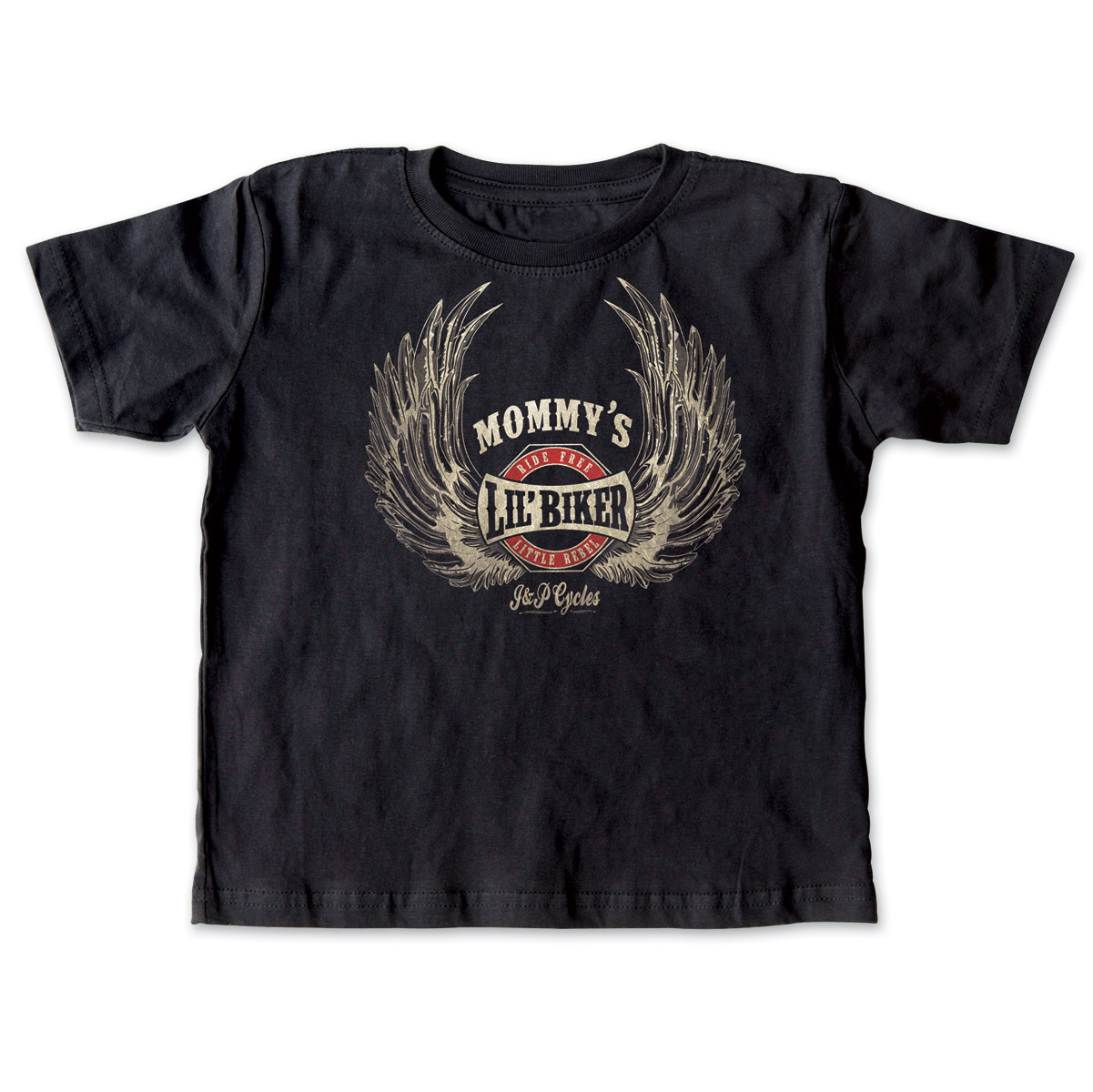 J&P Cycles Mommy's Lil' Wings Black Toddler Tee