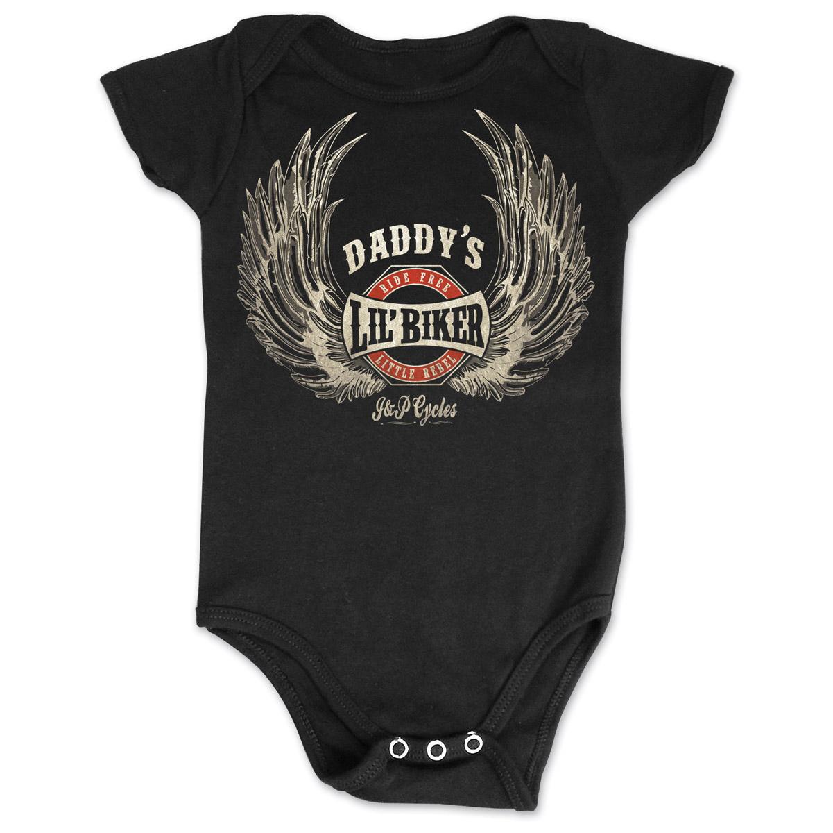 J&P Cycles Daddy's Lil' Wings Black Onesie