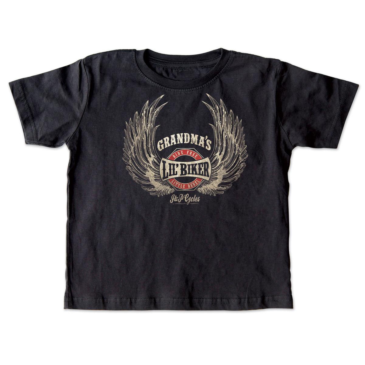 J&P Cycles® Grandma's Lil' Wings Black Toddler Tee