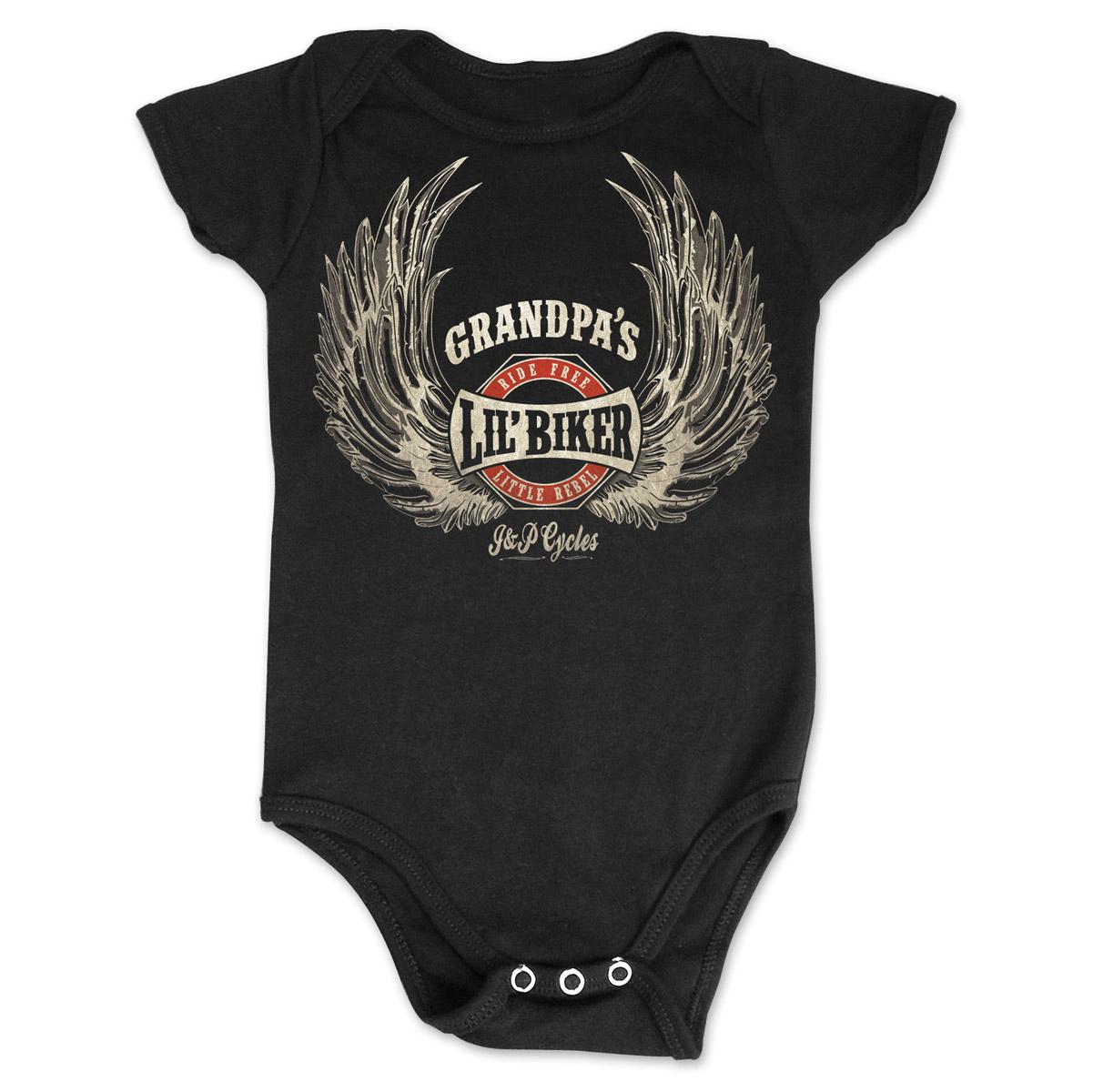 J&P Cycles Grandpa's Lil' Wings Black Onesie