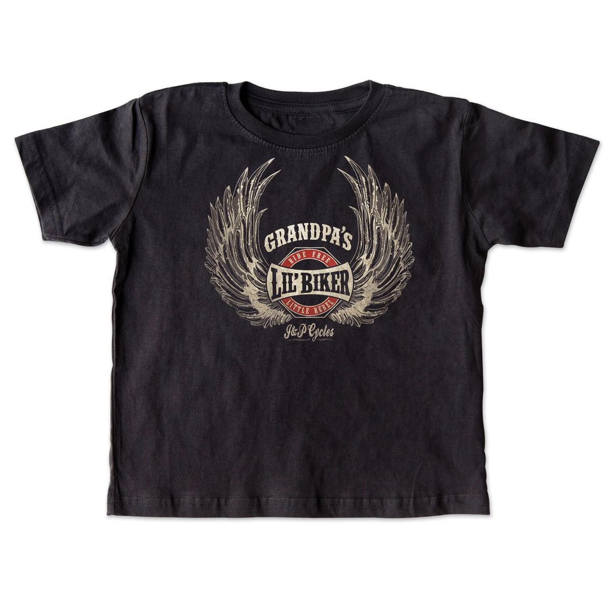 J&P Cycles® Grandpa's Lil' Wings Black Toddler Tee