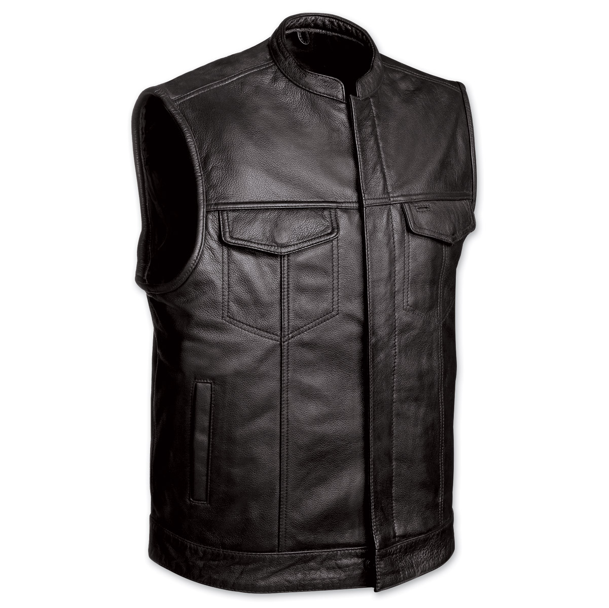 First Manufacturing Co. Men's Club Motorcycle Black Leather Vest