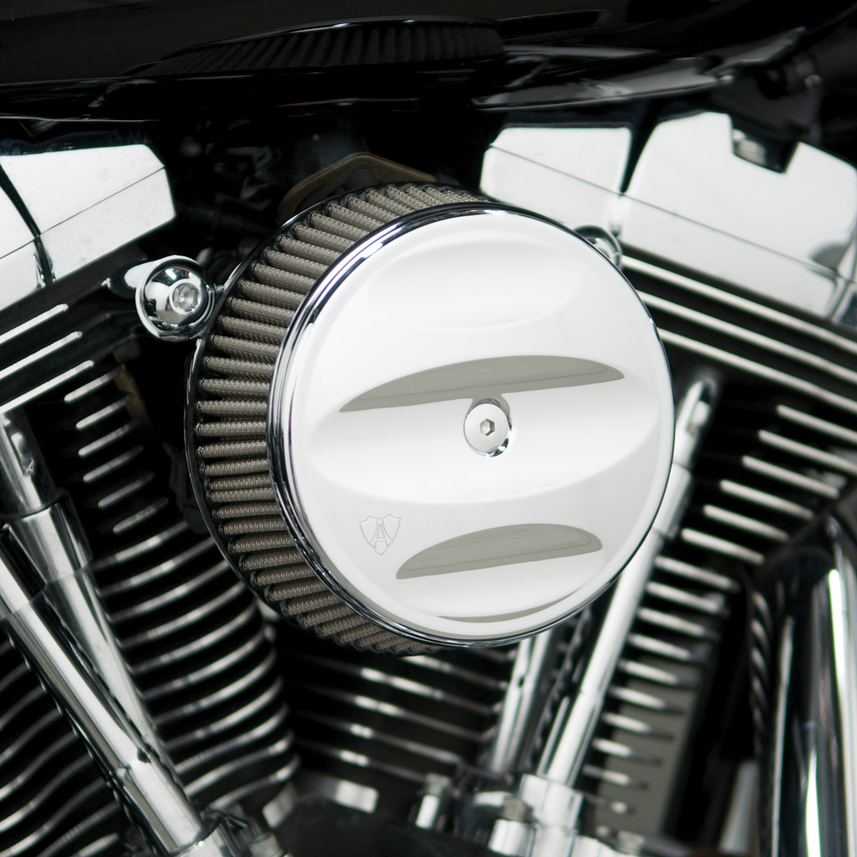 Arlen Ness Chrome Finish Stage I Big Sucker Kit Scallop Cover with Synthetic Filter