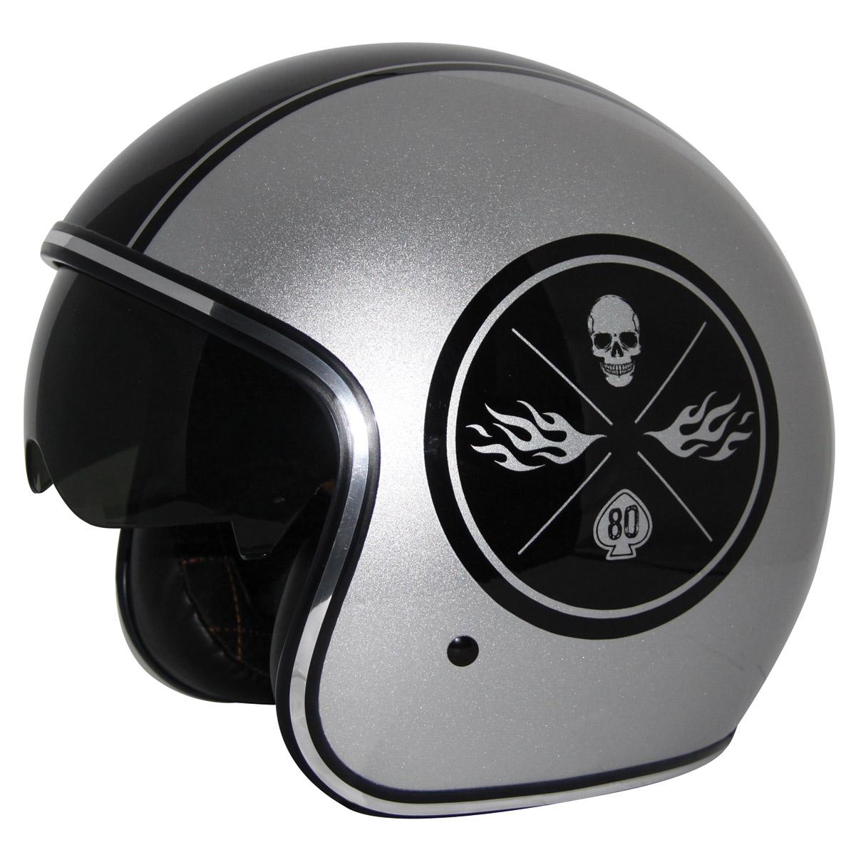 Zox Route 80 DDV Ace Metallic Silver Open Face Helmet