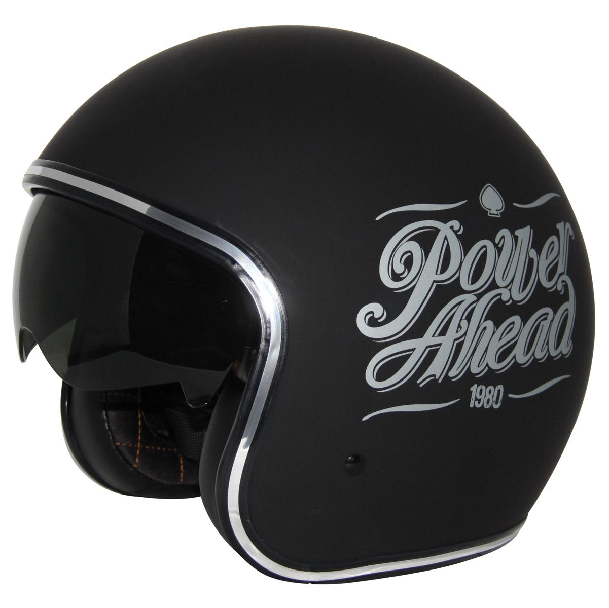 Zox Route 80 DDV Slogan Matte Black Open Face Helmet