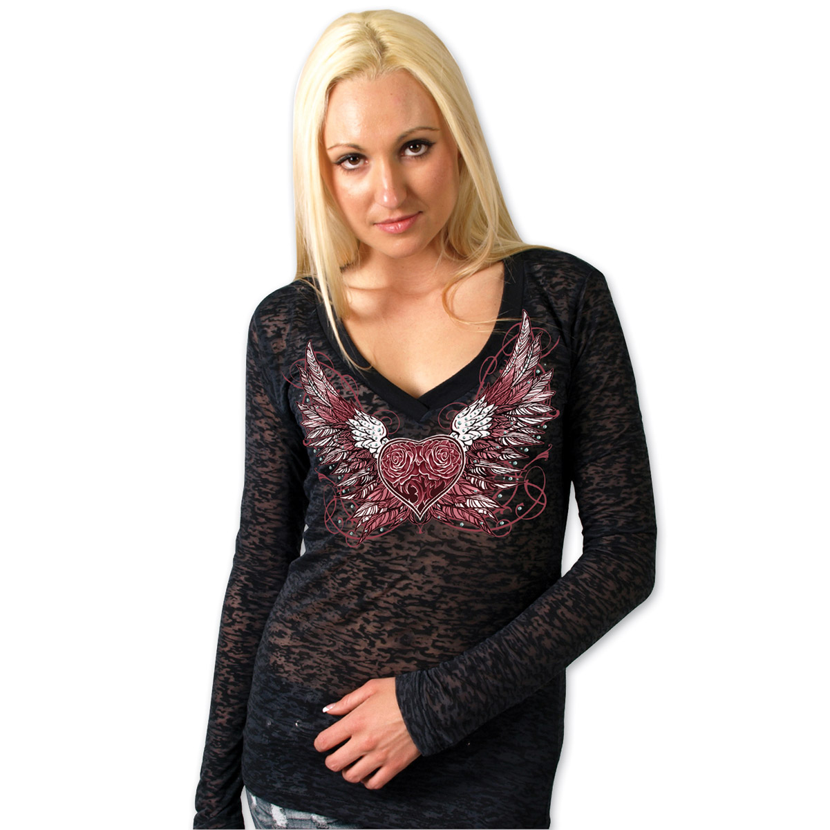 Hot Leathers Sparkle Wings Women's Burnout Black Long Sleeve Tee