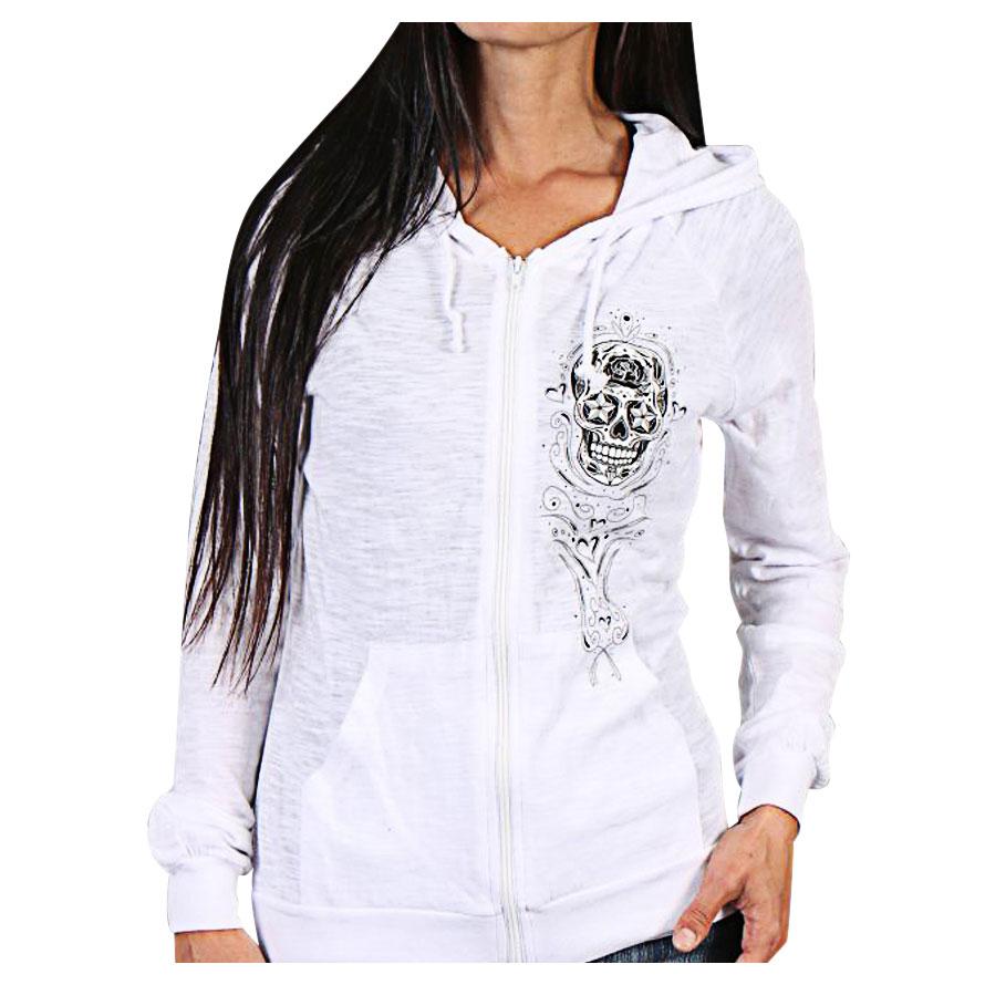 a18d41235 Hot Leathers Sugar Skull Women's White Full Zip Hoodie - GLZ4237-LG ...