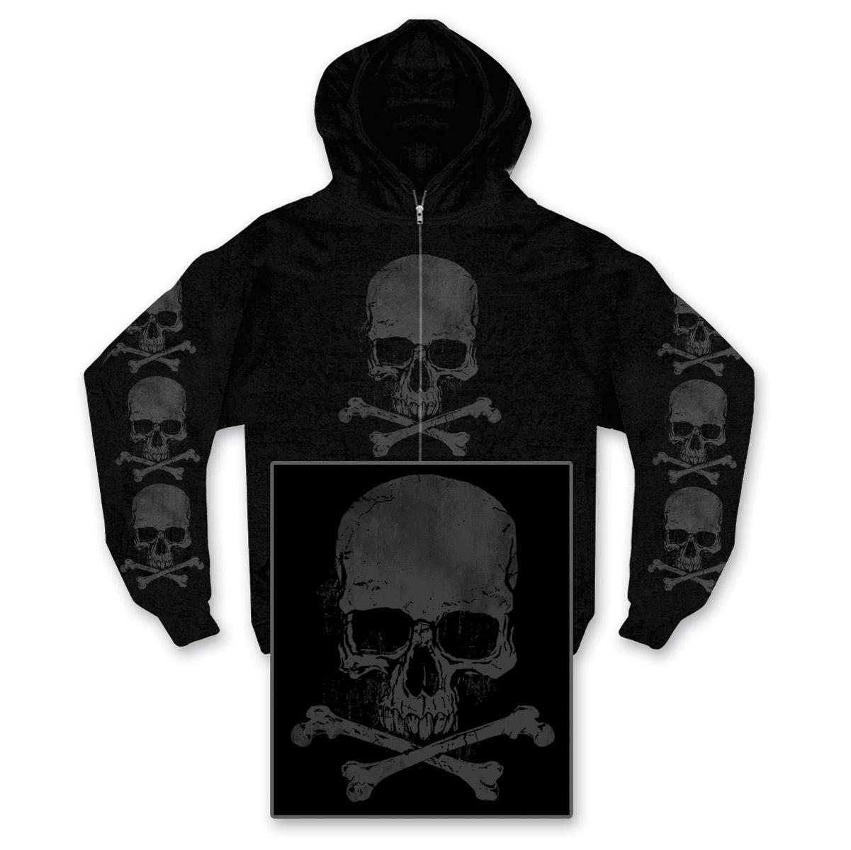 Hot Leathers Skull and Crossbones Men's Black Full Zip Hoodie