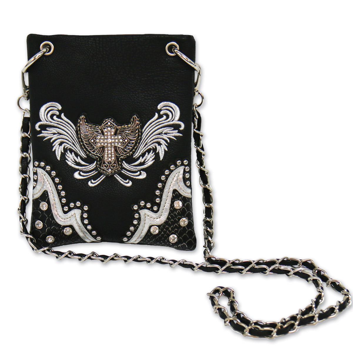 Hot Leathers Silver Cross Emblem Black/Silver Purse