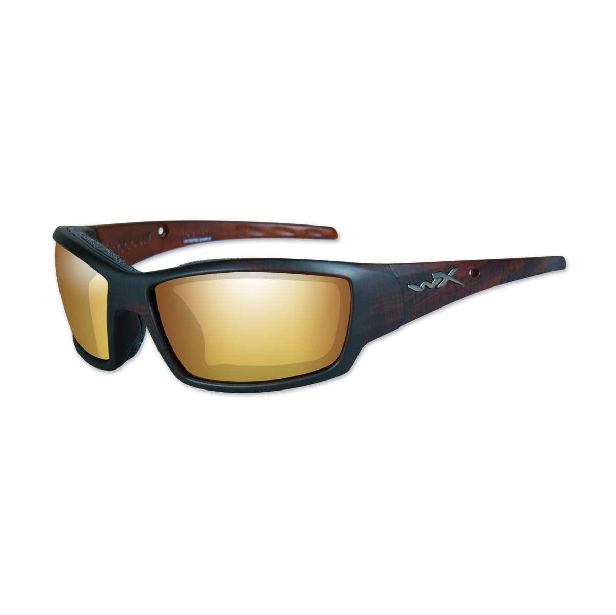 Wiley X WX Tide Matte Hickory Brown Frame w/Gold Mirror Lens Sunglasses