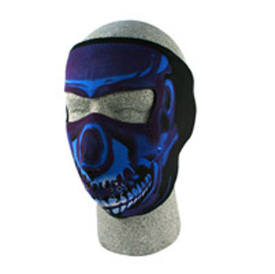 ZAN headgear Neoprene Blue Chrome Skull Face Mask