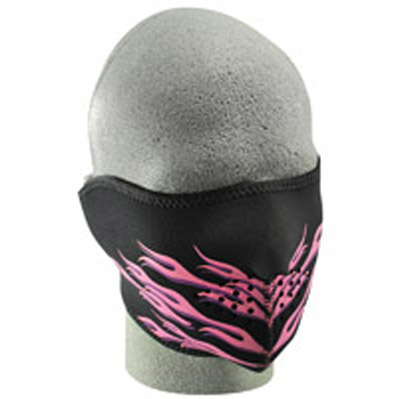 ZAN headgear Neoprene Pink Flames Half Mask