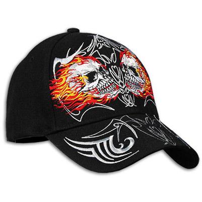 Flaming Skulls Embroidered Ball Cap