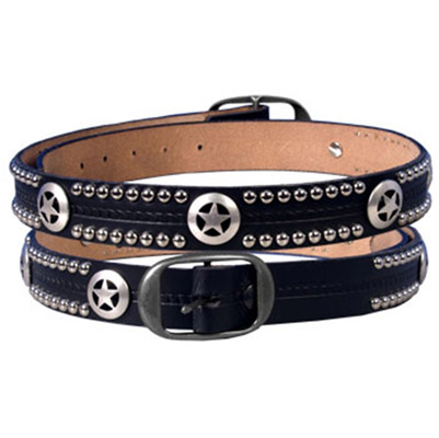 Embossed Texas Stars & Studs Leather Belt