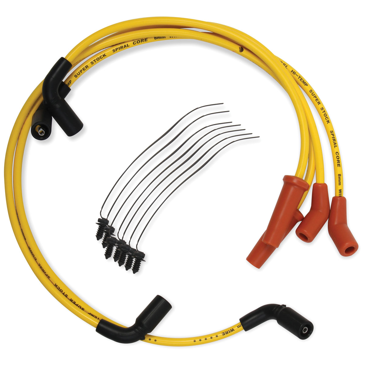 ACCEL Yellow S/S 8mm Spiral Core Wire Set