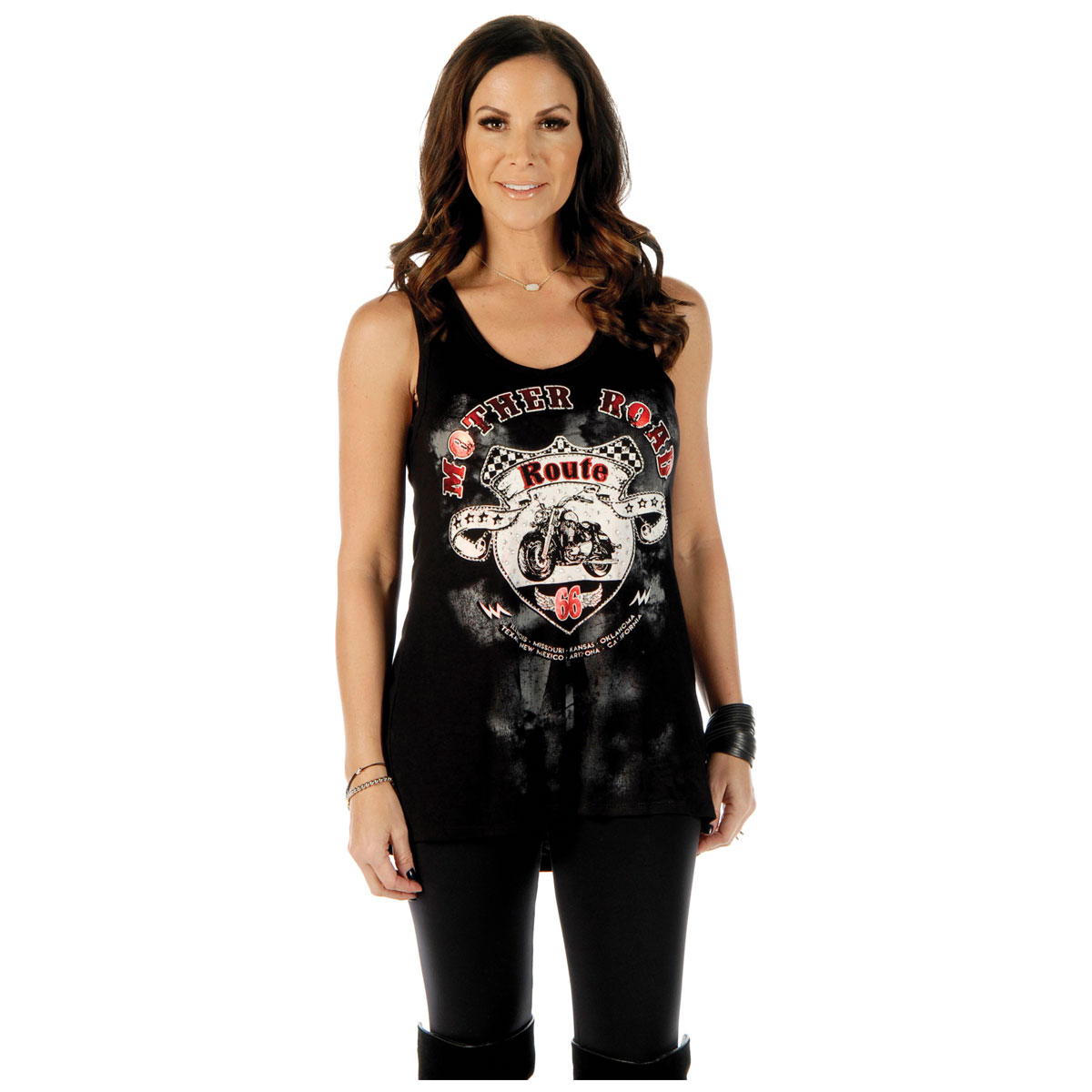 Liberty Wear Women's Mother Road Route 66 Black Tank Top