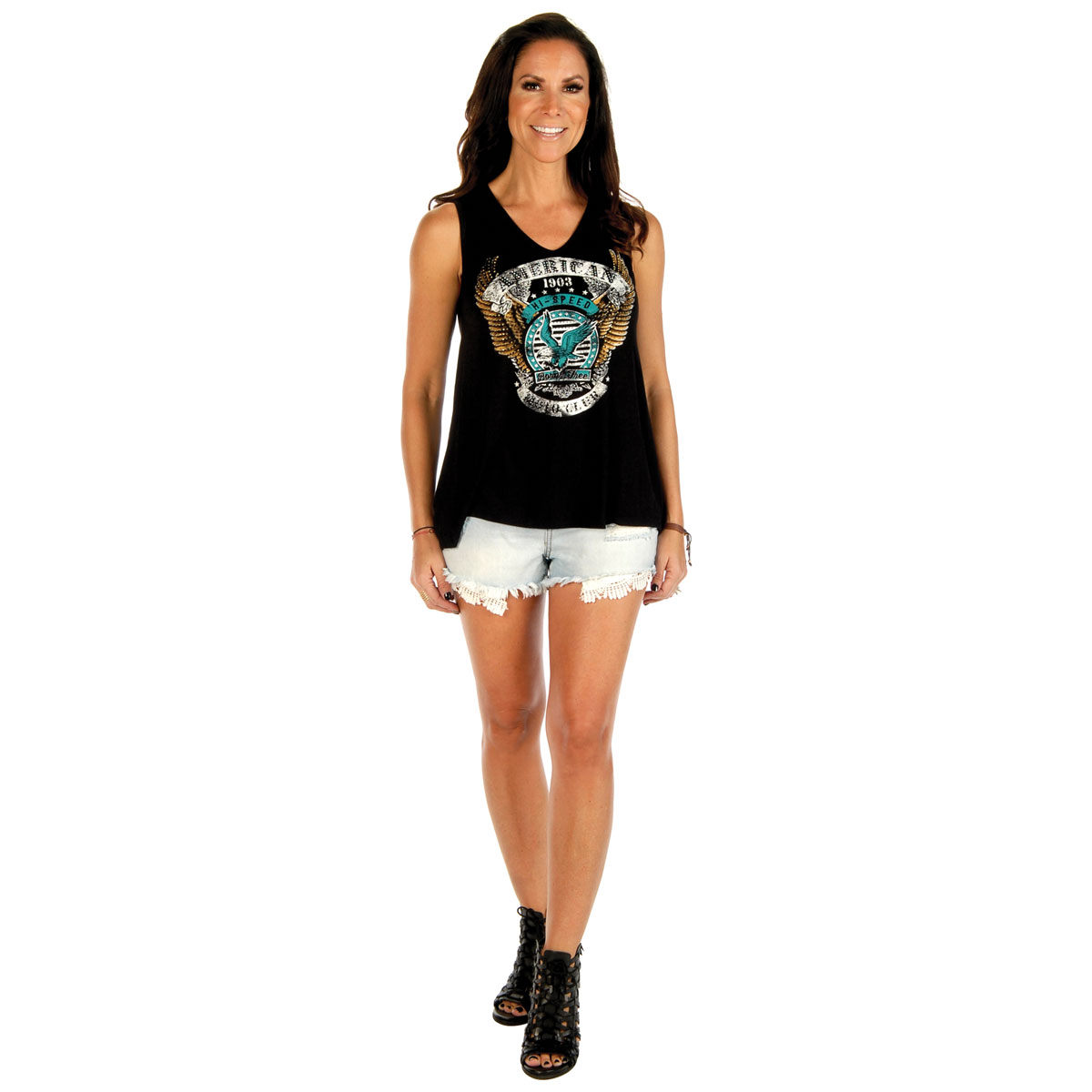 Liberty Wear Women's American Moto Club Black Tank Top