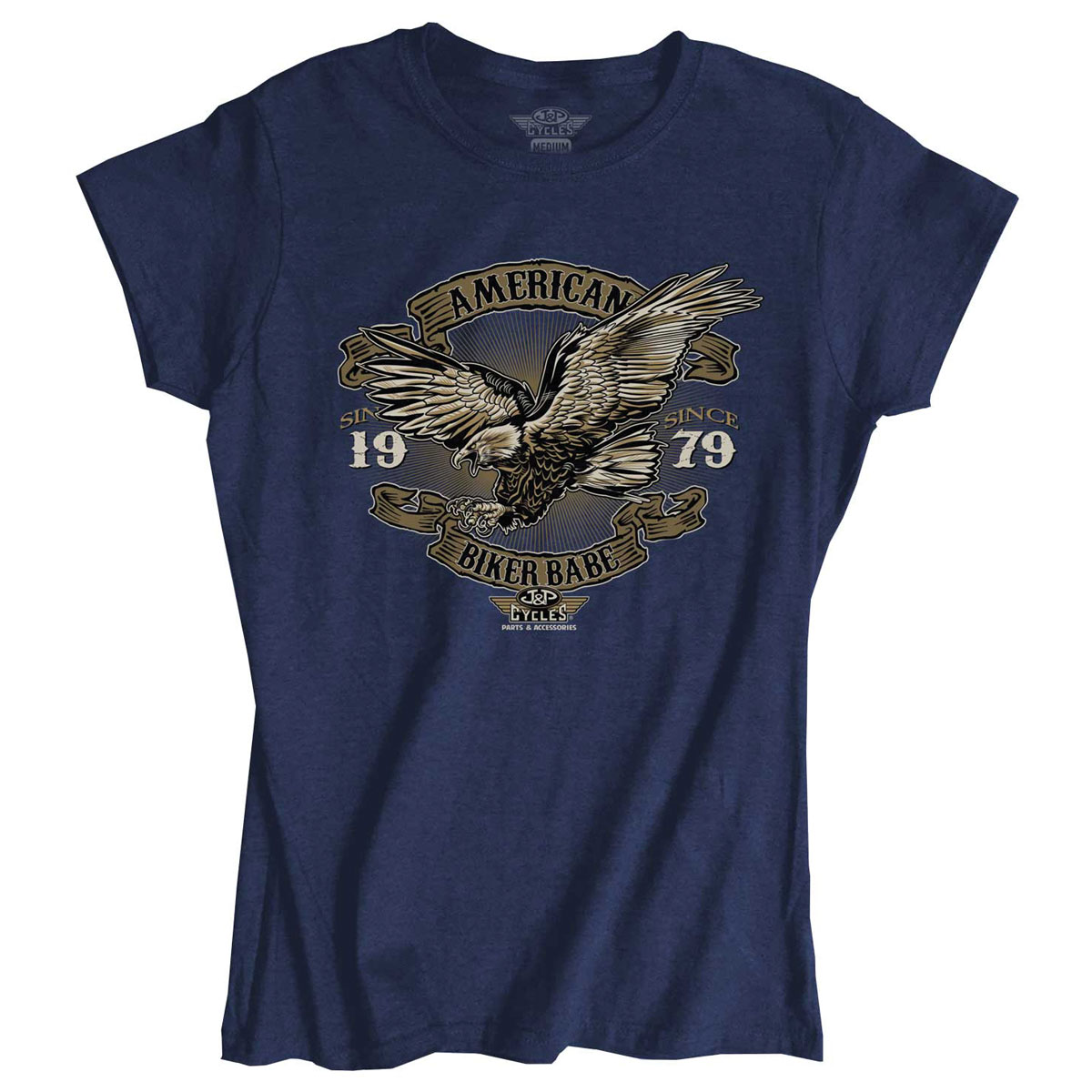 J&P Cycles Women's American Biker Babe Vintage Royal T-Shirt