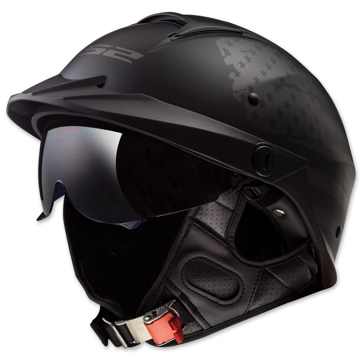 LS2 Rebellion 1812 Matte Black Half Helmet