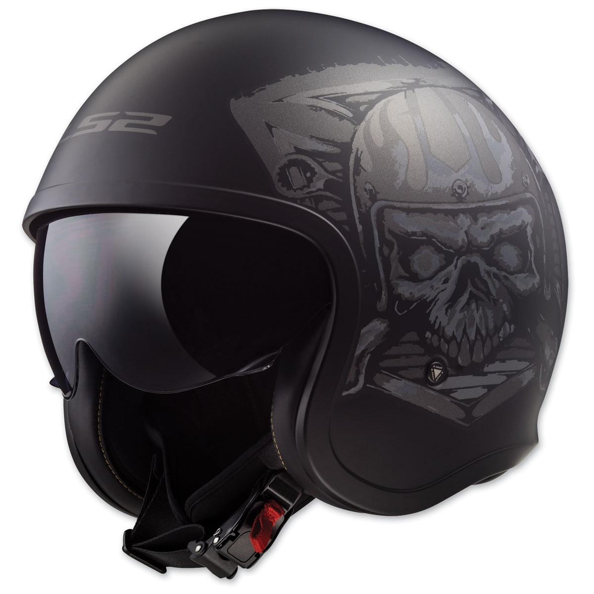 LS2 Spitfire Skull Rider Matte Black Open Face Helmet