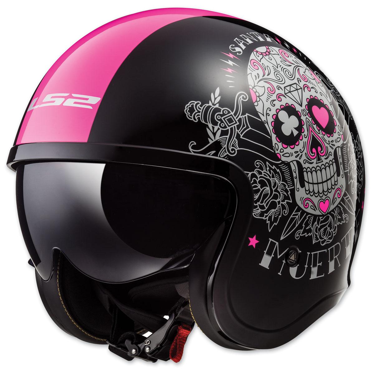 LS2 Spitfire Pink Muerte Gloss Black Open Face Helmet